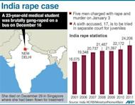 Graphic showing New Delhi in India where a 23-year-old medical student was gang-raped in December.