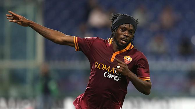 AS Roma forward Kouassi Gervais Yao Gervinho, of Ivory Coast, celebrates after scoring during a Serie A soccer match between Sampdoria and AS Roma, in Genoa, Italy, Wednesday, Sep. 25, 2013. AS Roma maintained its perfect start to the Serie A season with a 2-0 win at Sampdoria on Wednesday and has sole lead of the table after Napoli was surprisingly held to a 1-1 draw at home to Sassuolo