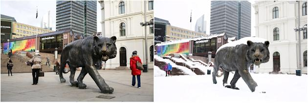"""Combination photo shows the """"Oslo Tiger"""" at the Central Station before and after heavy snowfall, in Oslo"""