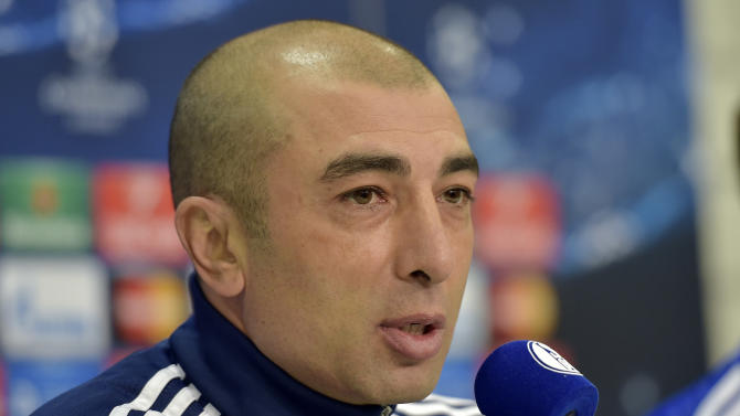 FILE - In this Feb. 17, 2015 file photo Schalke's head coach Roberto di Matteo attends a press conference prior to the Champions League round of 16 first leg soccer match between FC Schalke 04 and Real Madrid in Gelsenkirchen, Germany. Schalke announced Tuesday, May 26, 2015, that di Matteo has stepped down after a disappointing season with a sixth-place finish in the Bundesliga. (AP Photo/Martin Meissner, File)