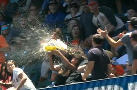 Giants' fan Thea Vierling lost her lunch thanks to Paul Goldschmidt's foul ball. (MLB)