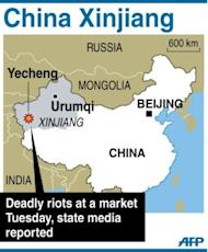 A map locating Yecheng in China's Xinjiang region. Twenty people died when a group armed with knives attacked a market in Xinjiang, the latest outbreak of violence in the ethnically divided Chinese region, authorities said Wednesday