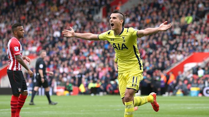 Football: Tottenham's Erik Lamela celebrates after he scores their first goal