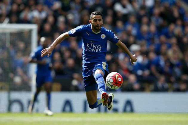 Leicester City's midfielder Riyad Mahrez controls the ball during the English Premier League football match between Leicester City and West Ham United in Leicester, England on April 17, 2016