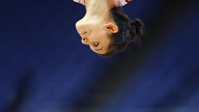 Elsa Garcia Rodriguez Blancas of Mexico attends a gymnastics training session at the O2 Arena before the start of the London 2012 Olympic Games
