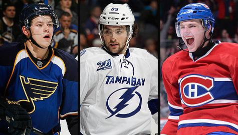 NHL rookie race for Calder Trophy: St. Louis Blues' Vladimir Tarasenko; Tampa Bay Lightning's Cory Conacher and Montreal Canadiens' Alex Galchenyuk.