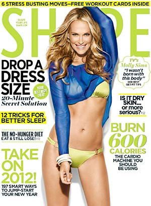 Molly Sims on the January cover of Shape