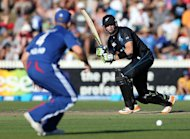 New Zealand's Martin Guptill bats during the International One Day Cricket match between New Zealand and England played at Snedden Park in Hamilton on Febuary 17, 2013. New Zealand called opening bat Hamish Rutherford and paceman Tim Southee into the one-day squad Monday as replacements for injured duo Guptill and Mitchell McClenaghan