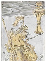 The king of cups. This ruler is dressed in ancient Roman clothing.
