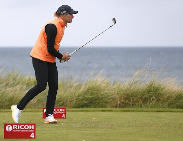 Norway's Suzann Pettersen drives at the fourth tee during the final round