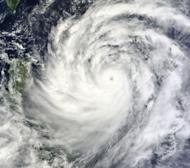 A NASA Terra satellite image obtained September 19, 2013, shows Typhoon Usagi nearing the Philippines and Taiwan