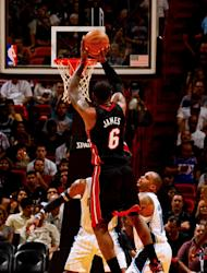 MIAMI, FL - MARCH 18: LeBron James #6 of the Miami Heat shoots against the Orlando Magic on March 18, 2012 at American Airlines Arena in Miami, Florida. (Photo by Issac Baldizon/NBAE via Getty Images)