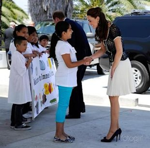 kate shaking hands in la