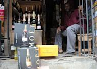 Champagne bottles displayed at a roadside shop in Lagos, Nigeria
