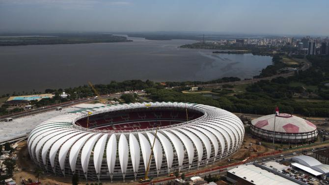 Aerial view shows the Beira-Rio stadium, which will host matches for the 2014 soccer World Cup, in Porto Alegre