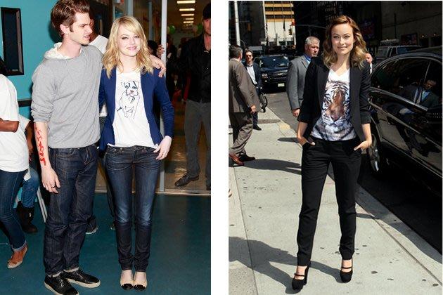 Emma Stone und Olivia Wilde tragen T-Shirts mit Tier-Print (Bilder: Getty Images)