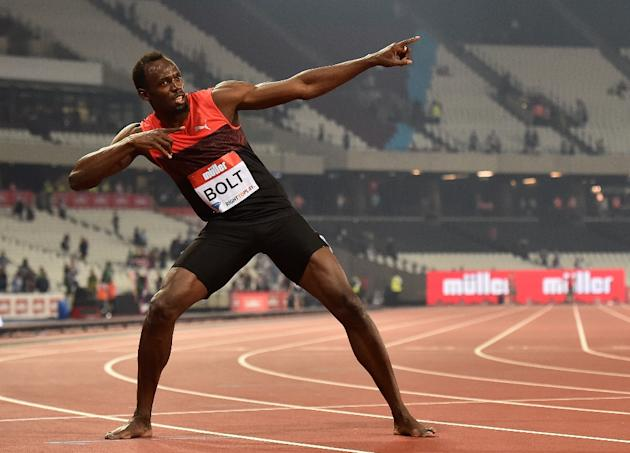 Jamaica's Usain Bolt creates his 'Lightening Bolt' pose as he celebrates winning the men's 200m in Stratford on July 22, 2016
