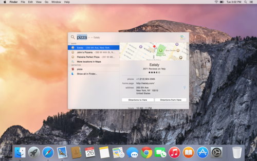OS X Yosemite Spotlight search