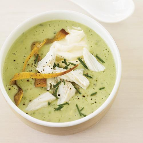 Chilled Avocado Soup Topped with Crab Photo © Lucy Schaeffe