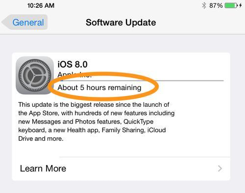 iOS 8 update estimate time of 5 hours