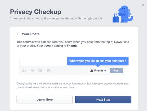 Facebook Privacy Checkup screenshot