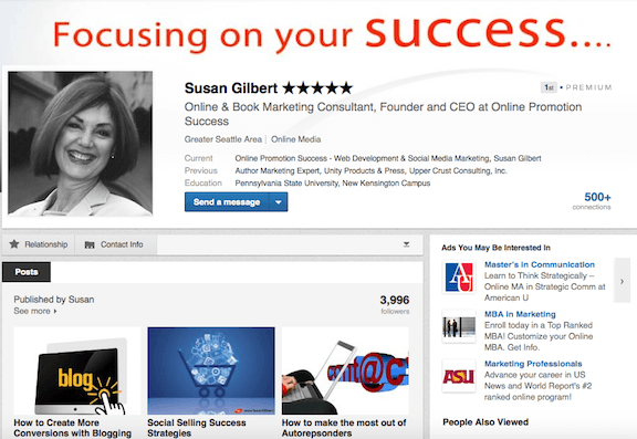 Publish a post to your network and associates - LinkedIn Publisher SusanGilbert.com