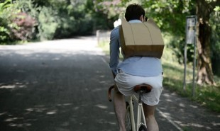 Cycle-friendly, biodegradable paper backpack for groceries