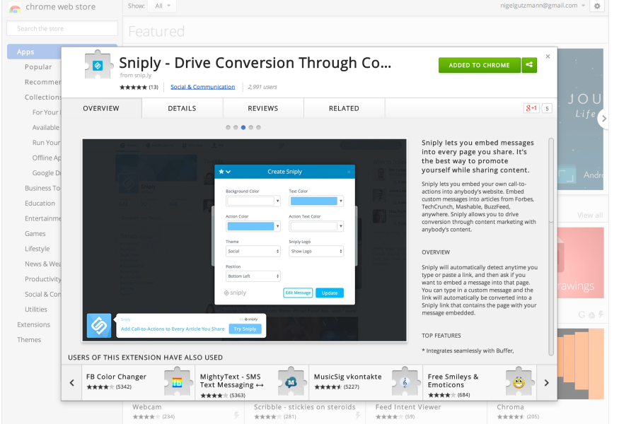 sniply app for marketers
