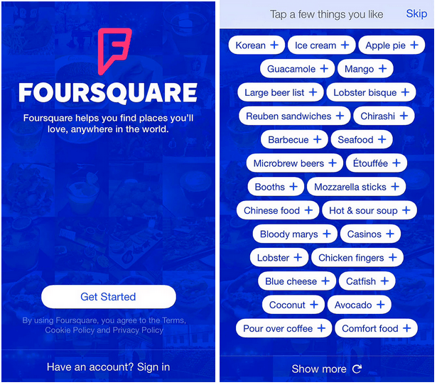 foursquare first-time user onboarding experience