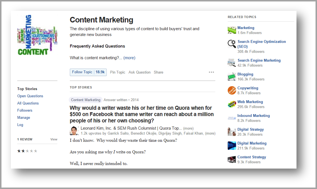 Quora example to drive traffic to your blog