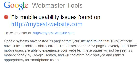 Webmaster Tools Mobility Issues Warning