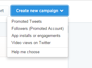 Twitter ads create new campaign