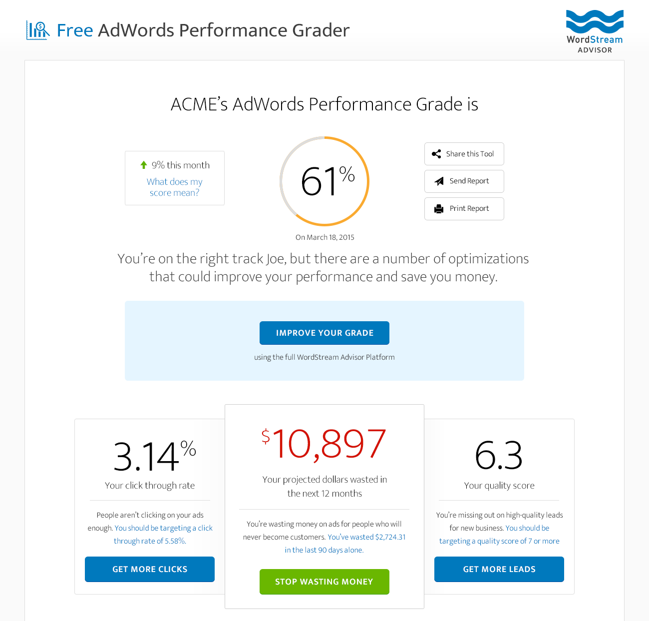 Online marketing tools WordStream AdWords Performance Grader