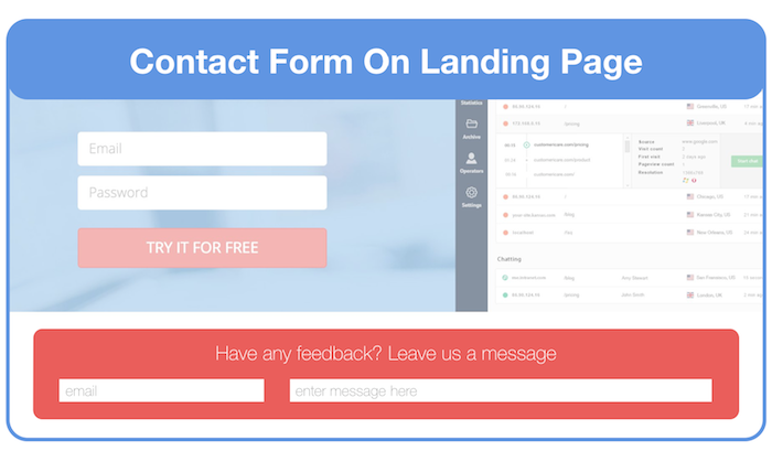 Add a contact form on your landing page