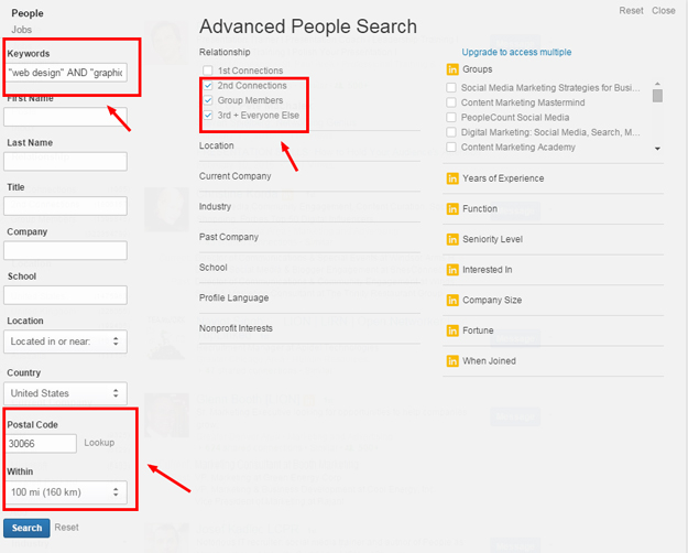 LinkedIn Advanced Search Criteria