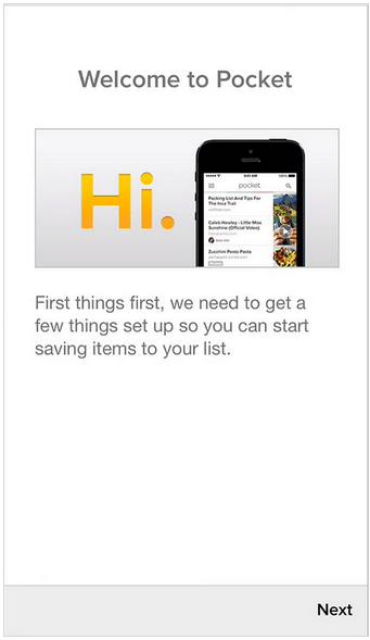 Pocket app first time user experience