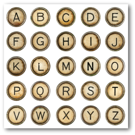 Vintage Typewriter Keys for Martha Spelman Post: Publish or Perish: Why Content Creation is Crucial