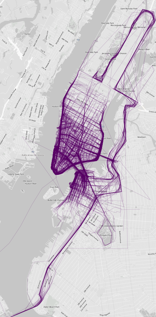 Map of where people go running in New York - Nathan Yau