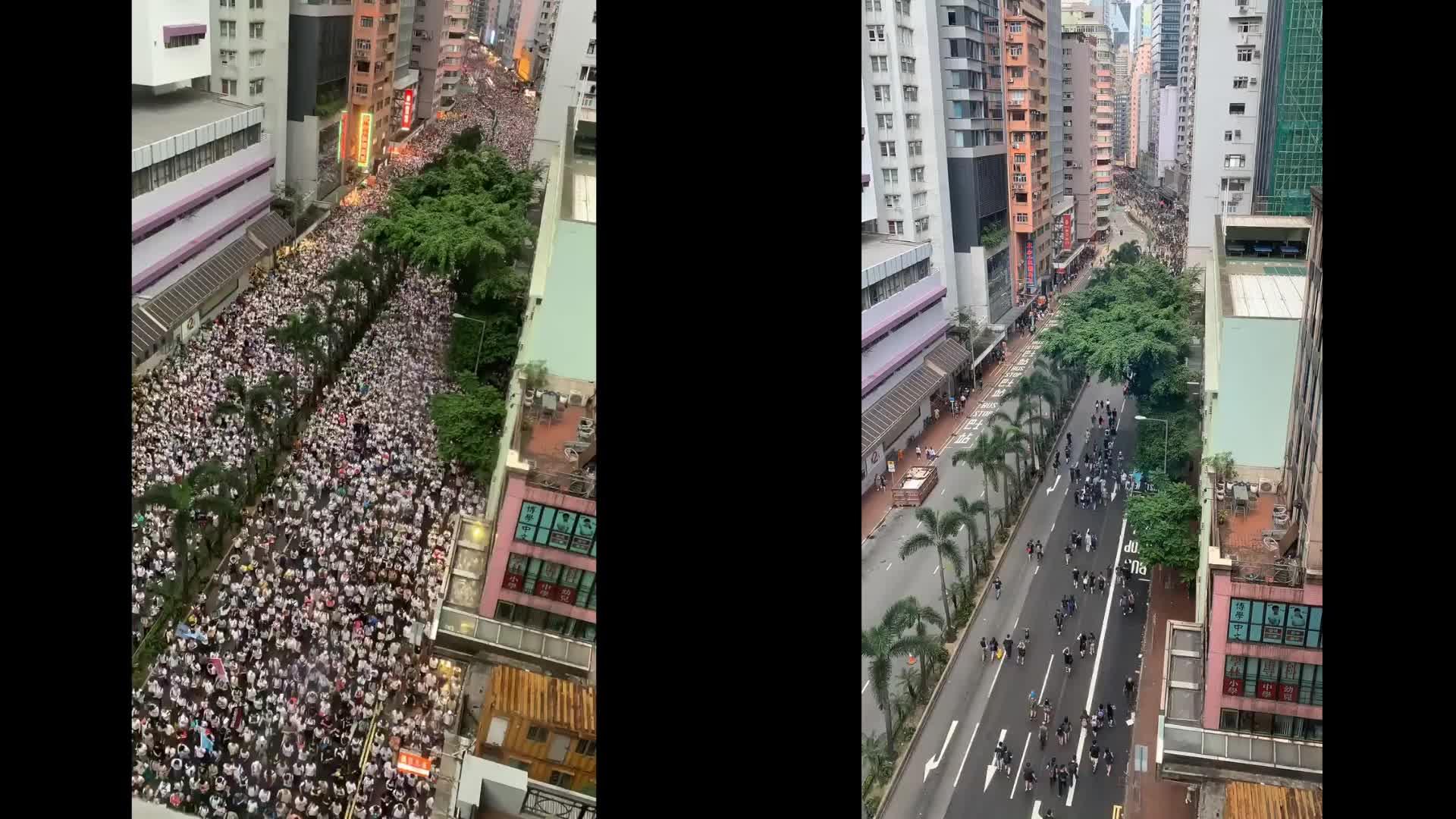 黑白雙潮翻覆香港 兩段縮時影片看「反送中」