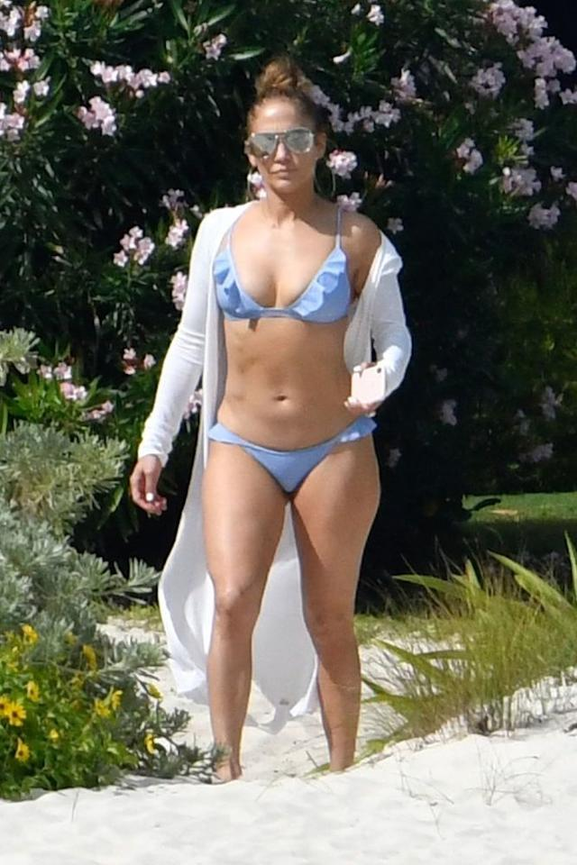 Jennifer Lopez in bikini on the beach