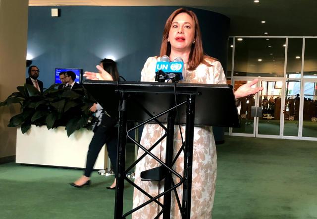 Ecuadorean Foreign Minister Maria Fernanda Espinosa speaks to the media in New York