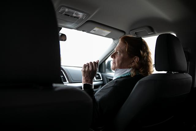 Heitkamp rides in a car with campaign staff to a campaign event on the Turtle Mountain Reservation on Monday. (Ilana Panich-Linsman for HuffPost)