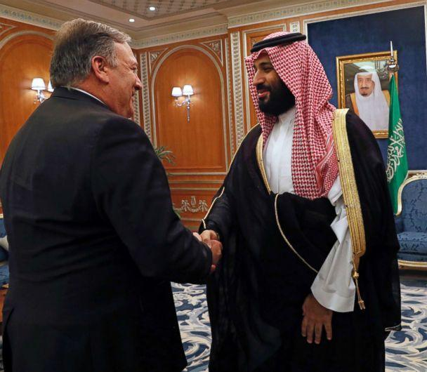 PHOTO: Secretary of State Mike Pompeo shakes hands with the Saudi Crown Prince Mohammed bin Salman in Riyadh, Saudi Arabia, Oct. 16, 2018. (Leah Millis/Pool via AP)