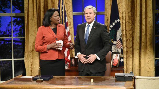 PHOTO: SATURDAY NIGHT LIVE -- 'Will Ferrell' Episode 1737 -- Pictured: (l-r) Leslie Jones as Condoleezza Rice, Will Ferrell as George W. Bush during the 'Cold Open' in Studio 8H on Saturday, January 27, 2018 (Will Heath/NBCU Photo Bank via Getty Images)