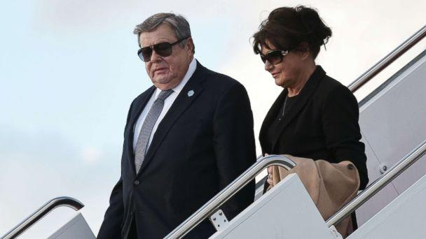 PHOTO: Viktor and Amalija Knavs, the parents of Melania Trump, step off Air Force One upon arrival at Palm Beach International Airport in West Palm Beach, Fla., March 17, 2017. (Mandel Ngan/AFP/Getty Images)