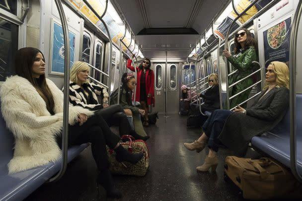 PHOTO: Sandra Bullock, Helena Bonham Carter, Cate Blanchett, Anne Hathaway, Sarah Paulson, Mindy Kaling, Rihanna, Awkwafina in a scene from 'Ocean's 8.' (Warner Bros.)