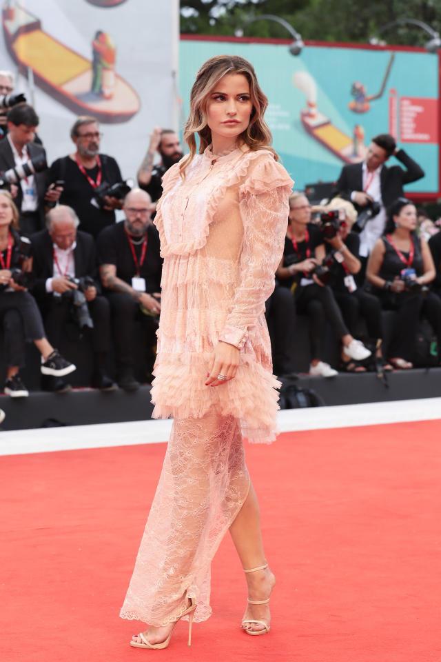 Italian actress Giulia Elettra Gorietti in a sheer pale pink gown. Photo: Getty