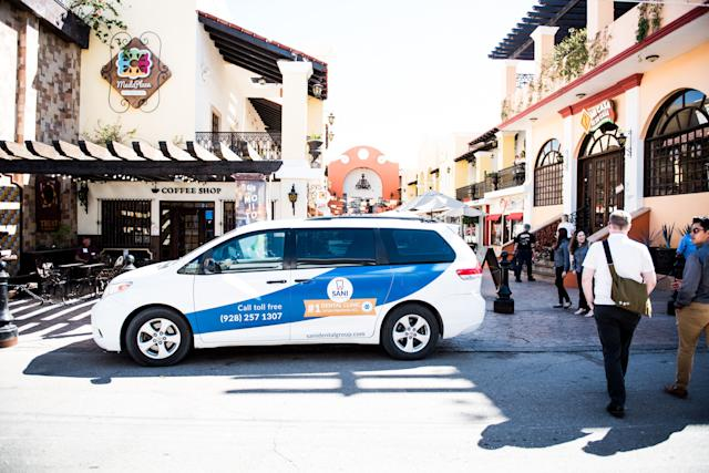 The Sani Dental Group's shuttles are a common sight throughout Molar City, taking patients wherever they'd like to go in Los Algodones, Baja California, Mexico on Saturday Oct. 23, 2019. Some dental practices in town offer transportation to and from the airport in Yuma, Arizona. (Photo: Ash Ponders for HuffPost)