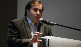 Rio de Janeiro - Presidente da Câmara dos Deputados, Rodrigo Maia, durante seminário para debater segurança pública no estado, na Câmara de Comércio Americana (Tânia Rêgo/Agência Brasil)