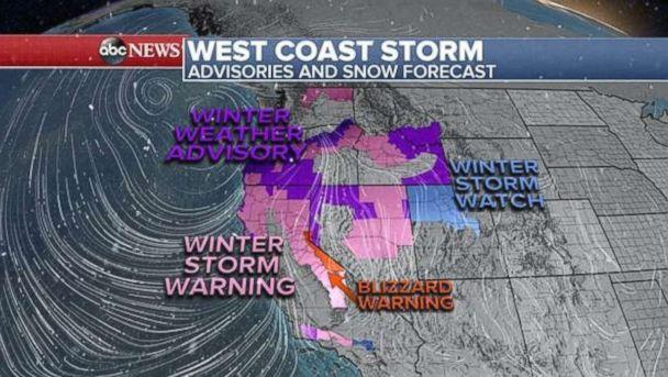 PHOTO: Winter storm warnings are in effect across the west coast with a forecast of heavy snow in the mountains and possibly flooding rain on the California Coast. (ABC News)
